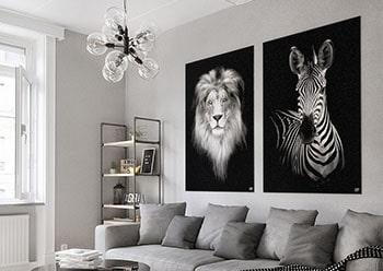 Wanddecoratie Schilderij Leeuw Zebra