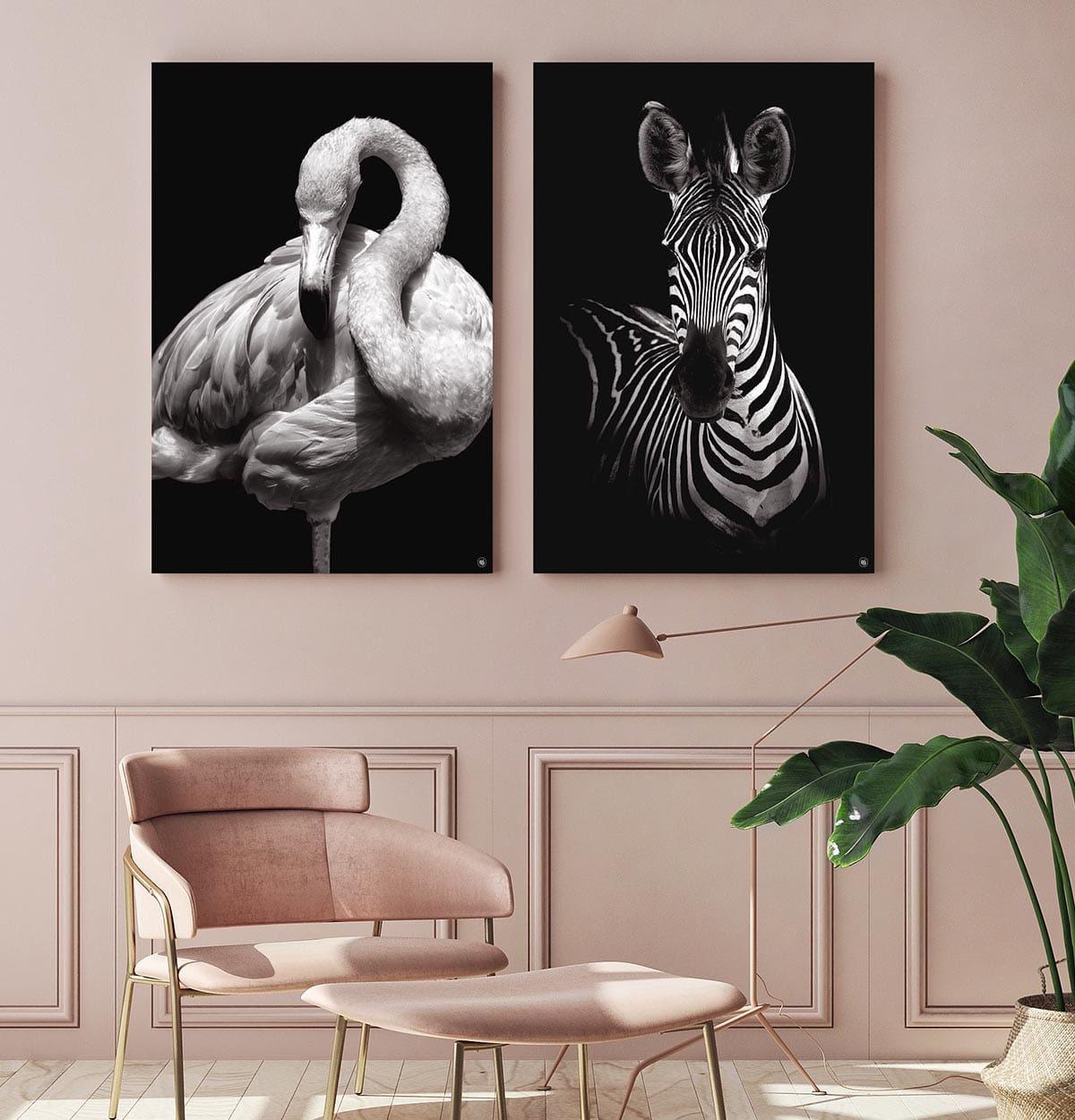 Wanddecoratie Schilderij Flamingo Zebra