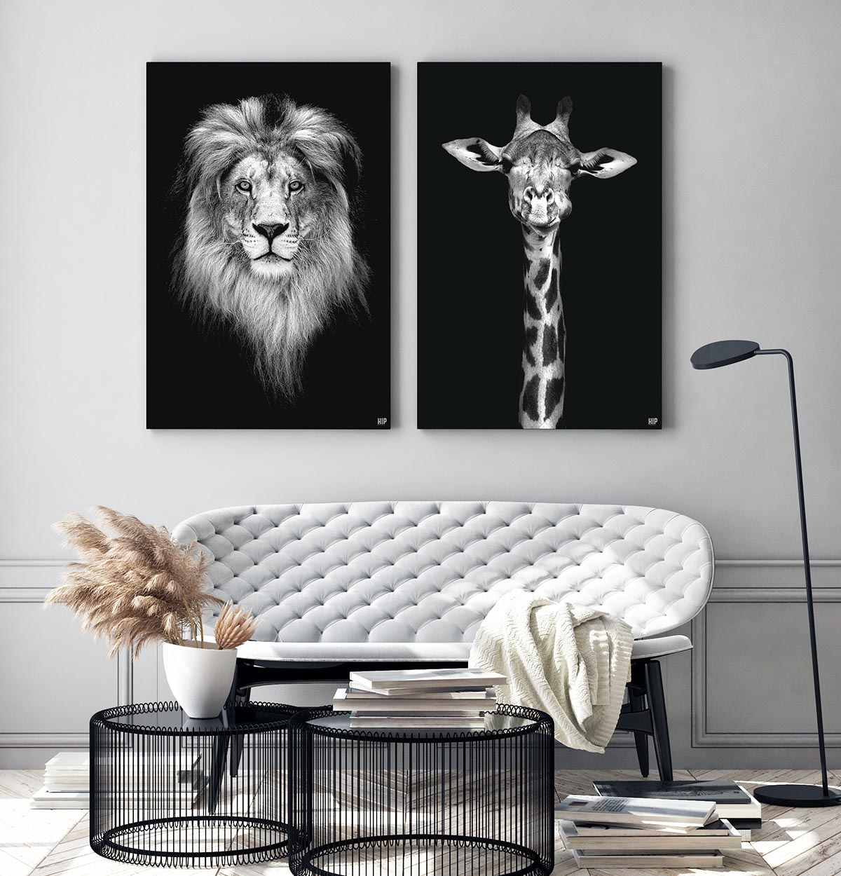 Wanddecoratie Schilderij Leeuw Giraf