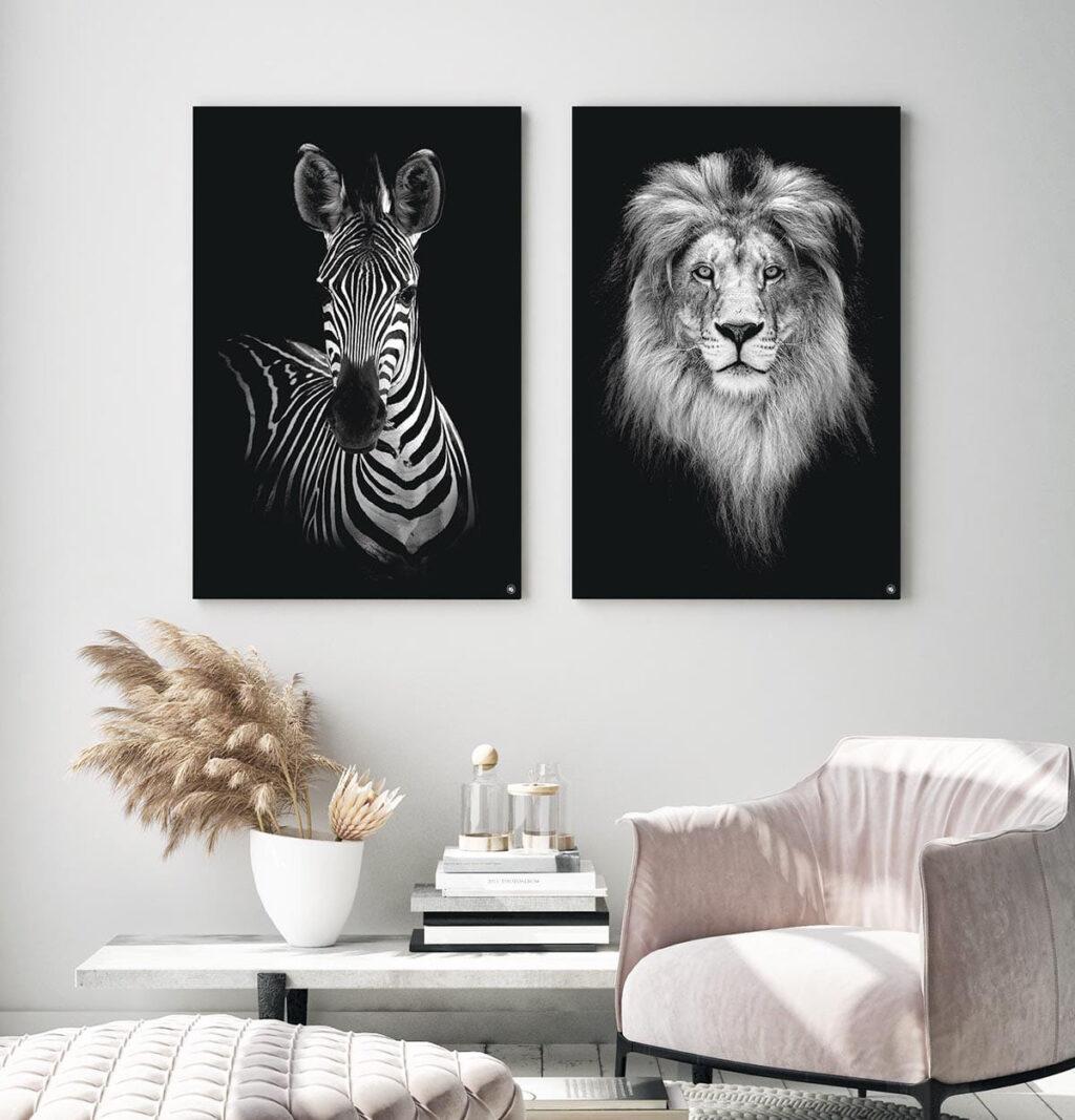 Wanddecoratie Schilderij Zebra Leeuw