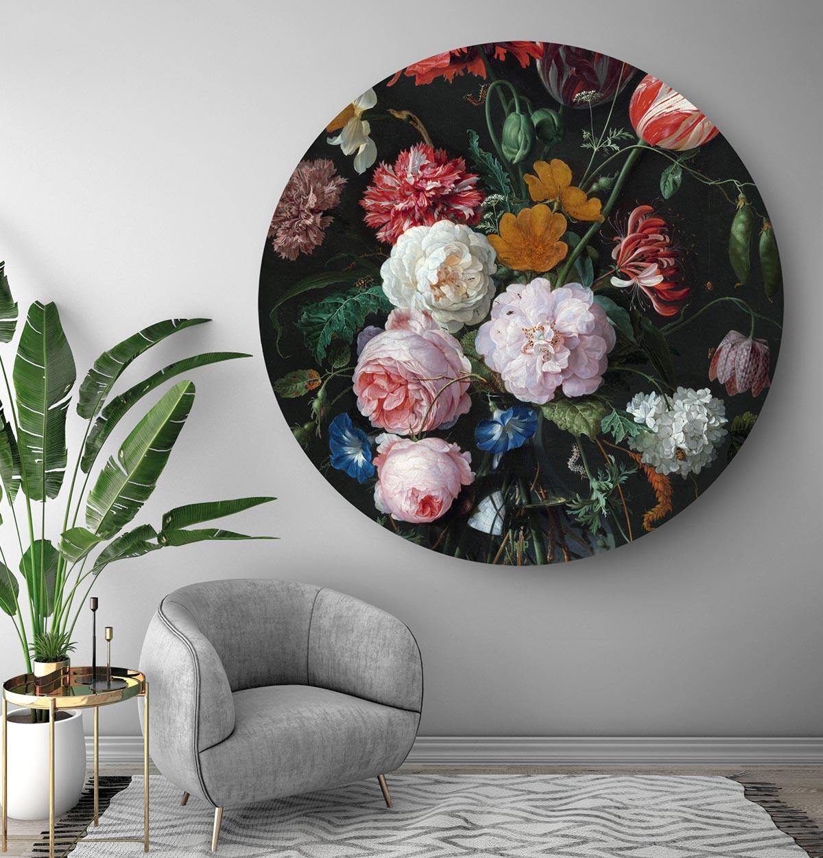 Stilleven Met Bloemen Heem In Het Rond Schilderij Rond Hip Orgnl