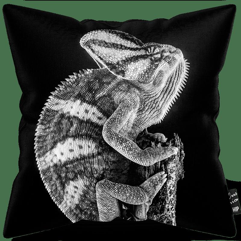 Kussen in het zwart-wit met een kameleon erop.
