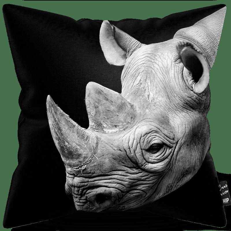 Kussen in het zwart-wit met een neushoorn erop.