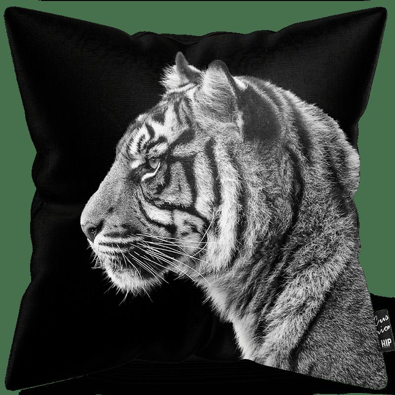 Kussen in het zwart-wit met een tijger erop.