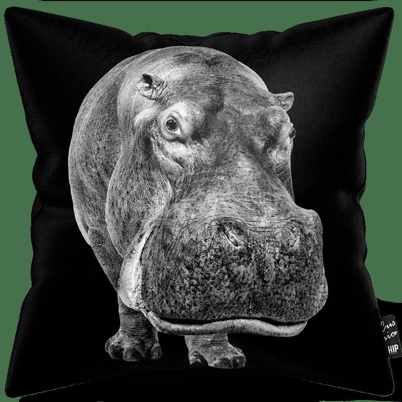 Kussen in het zwart-wit met een nijlpaard erop.