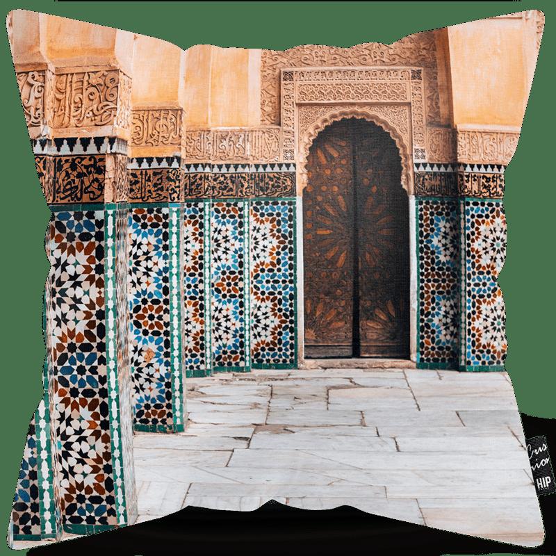 Kussen met een gebouw van Marrakesh erop.
