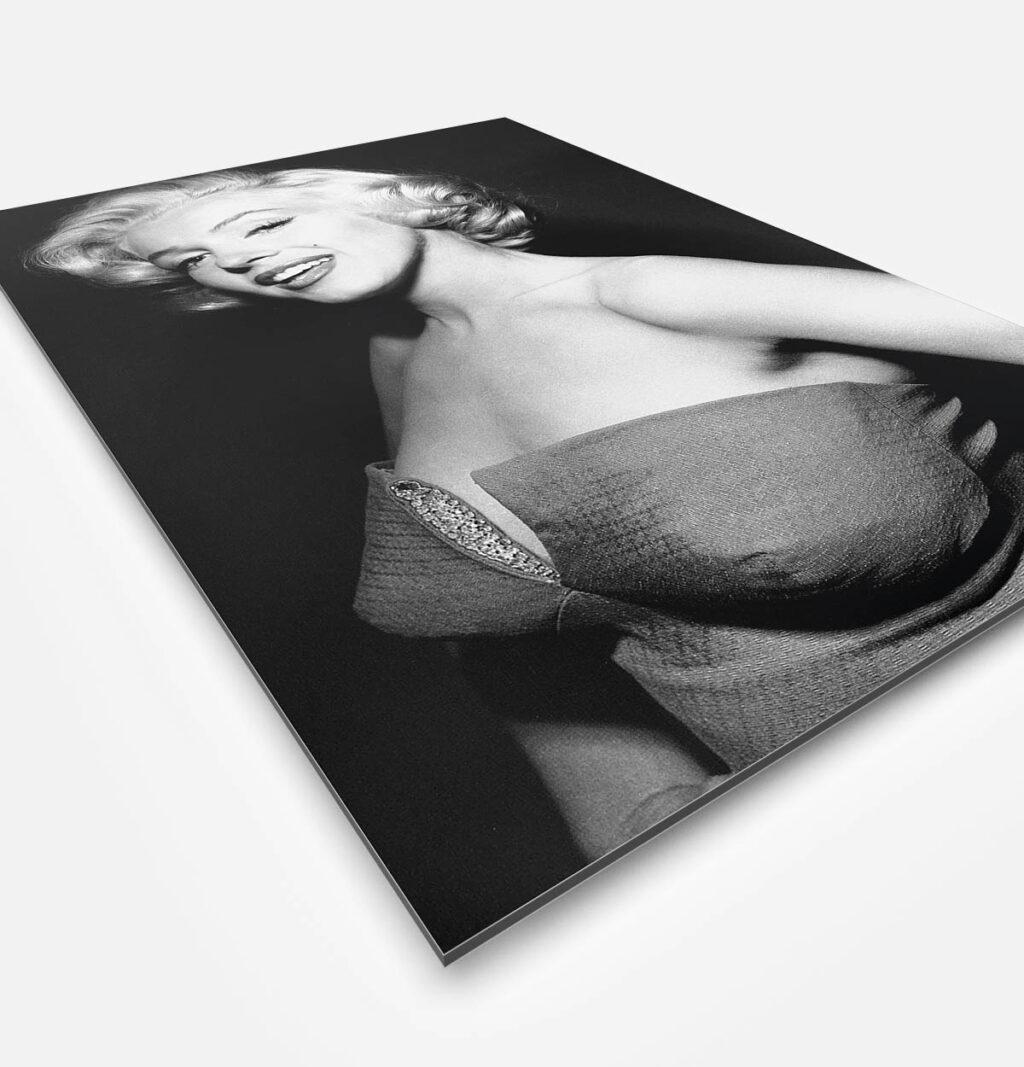 Vierkant wanddecoratie van Marylin Monroe in het zwart-wit.