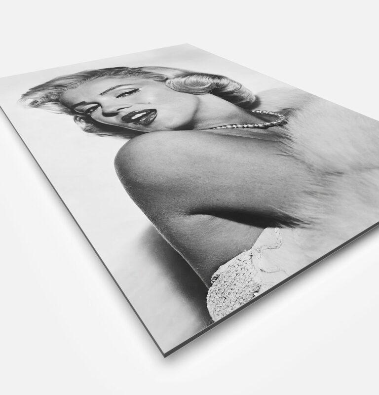 Vierkante wanddecoratie van Marylin Monroe in zwart-wit.